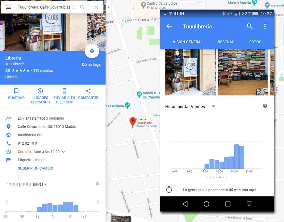 google maps horarios hora punta