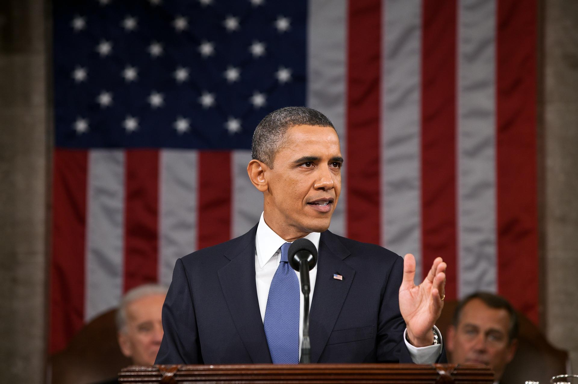 Barack Obama en un discurso como presidente de Estados Unidos