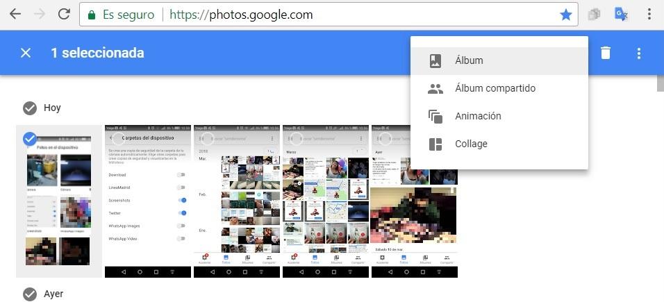 agregar fotografias a un album de google fotos