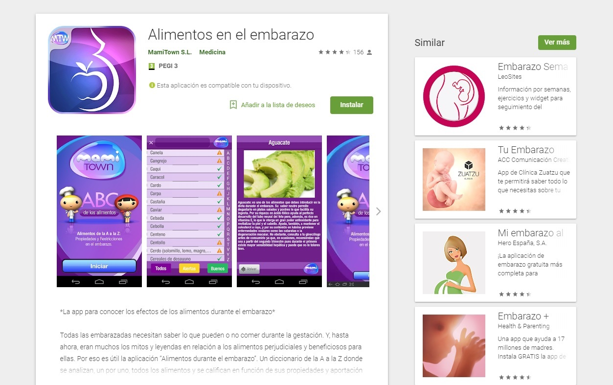 La app alimentos en el embarazo
