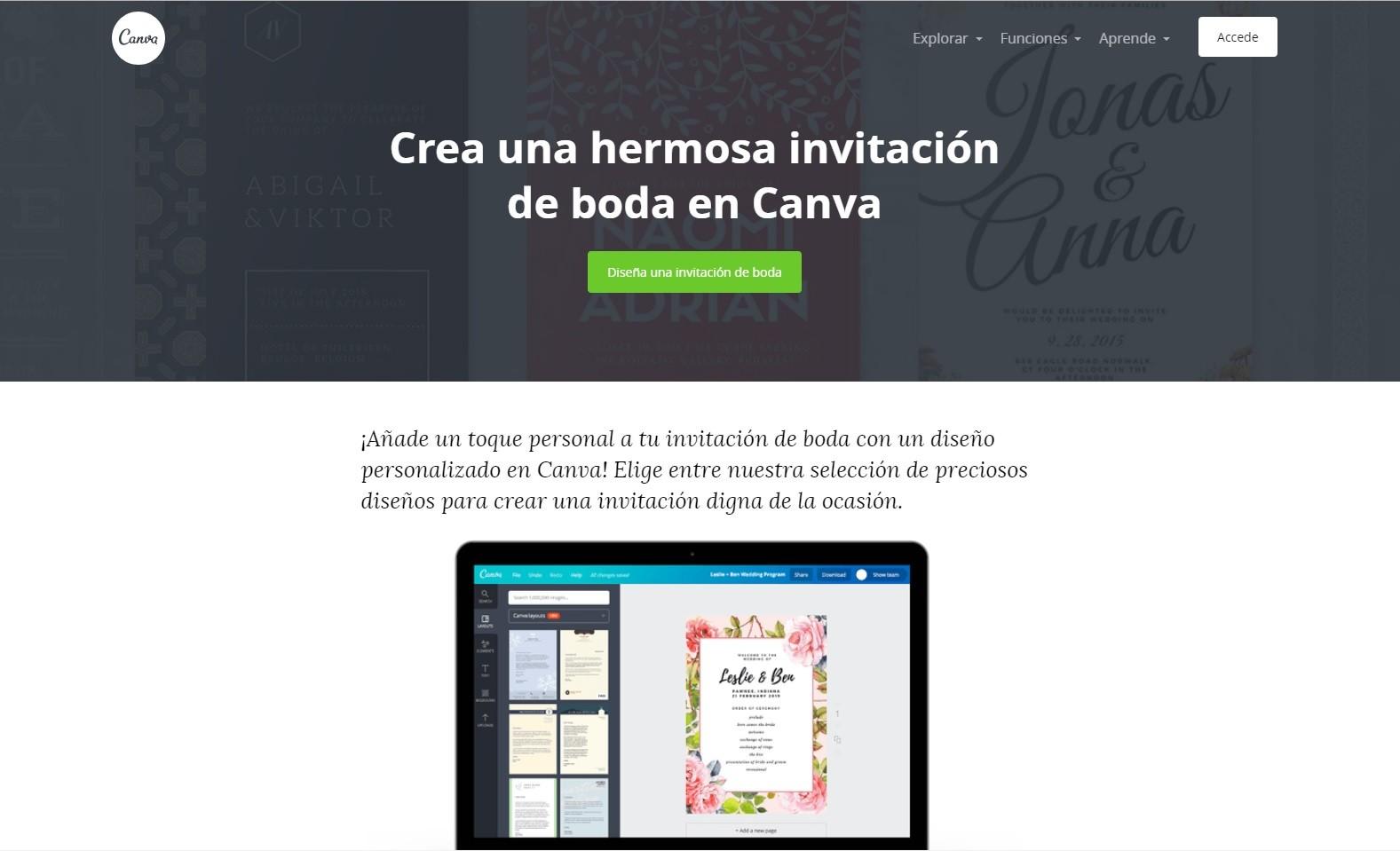 Canva, una web para diseñar invitaciones de boda