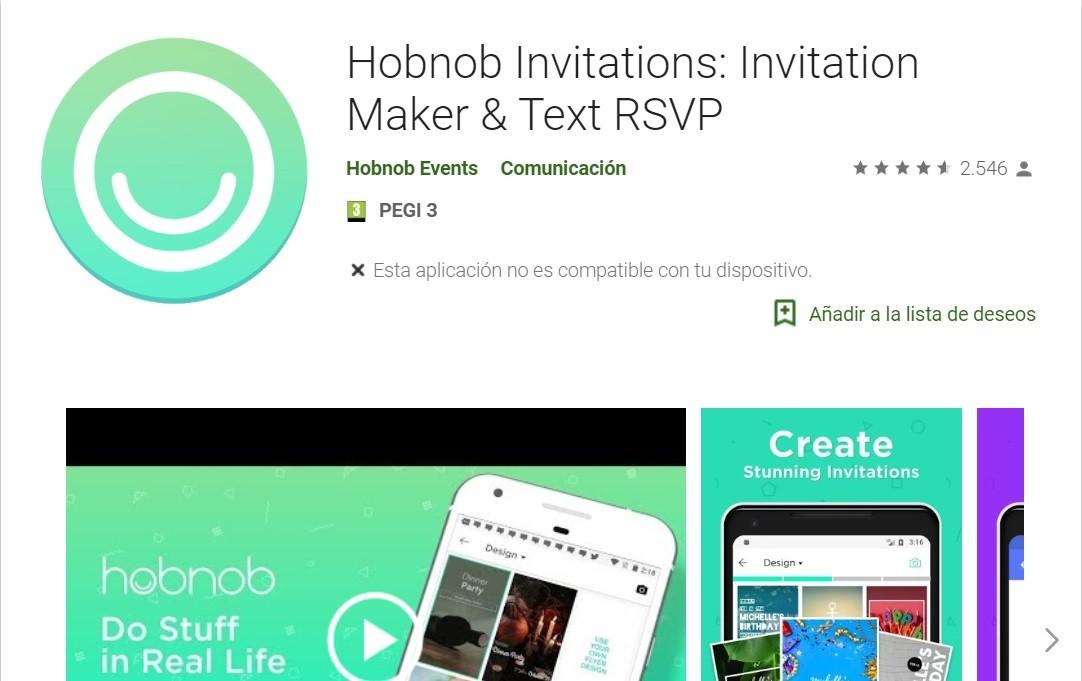Con Hobnob se pueden crear invitaciones de boda