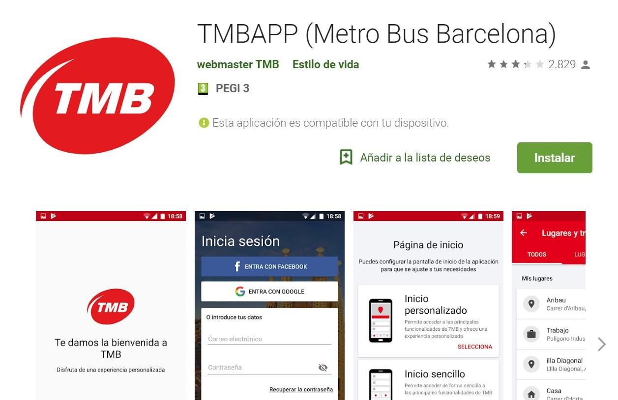TMB cuenta con diferentes apps