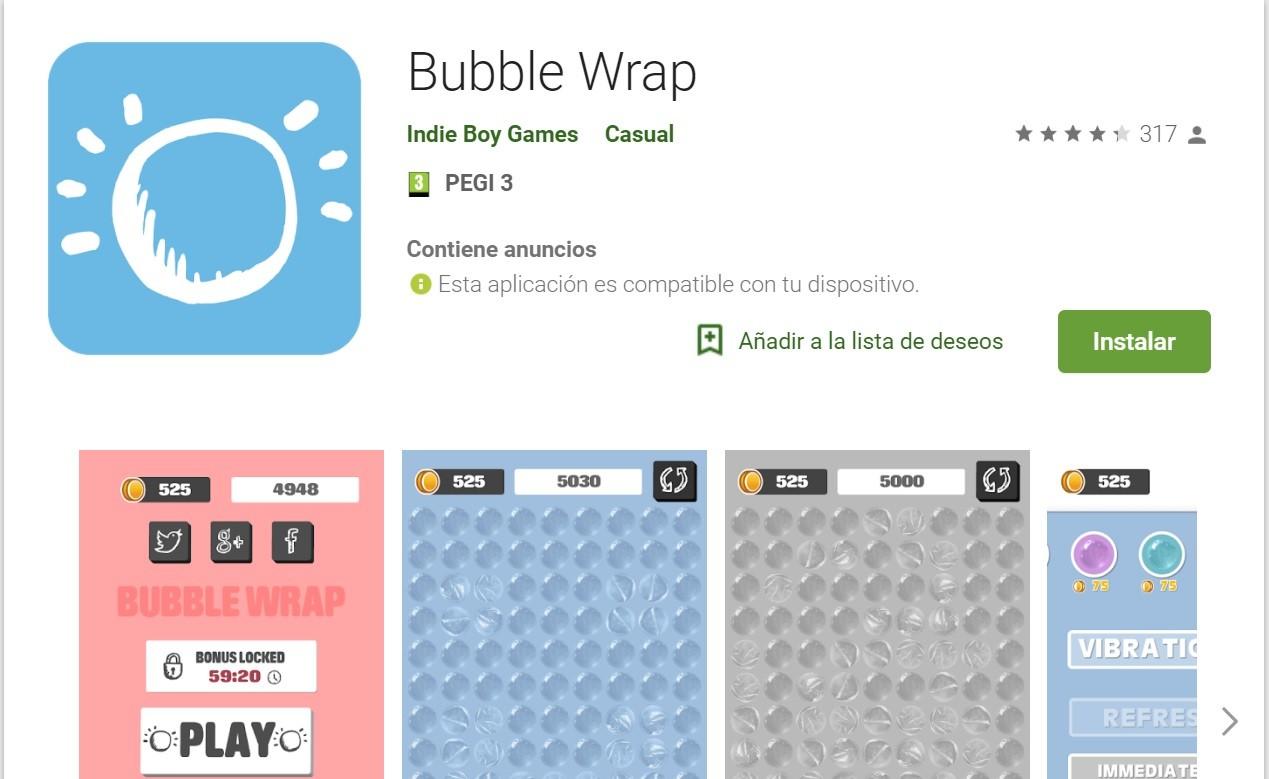 Una app para explotar burbujas