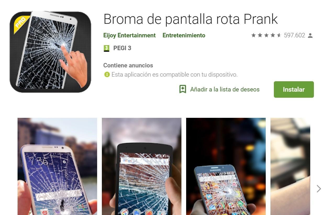 Una app que simula que tu móvil se ha roto