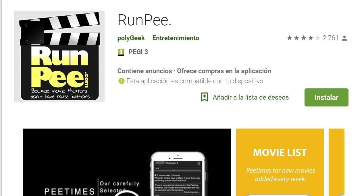 Run Pee, una apps para frikis del cine