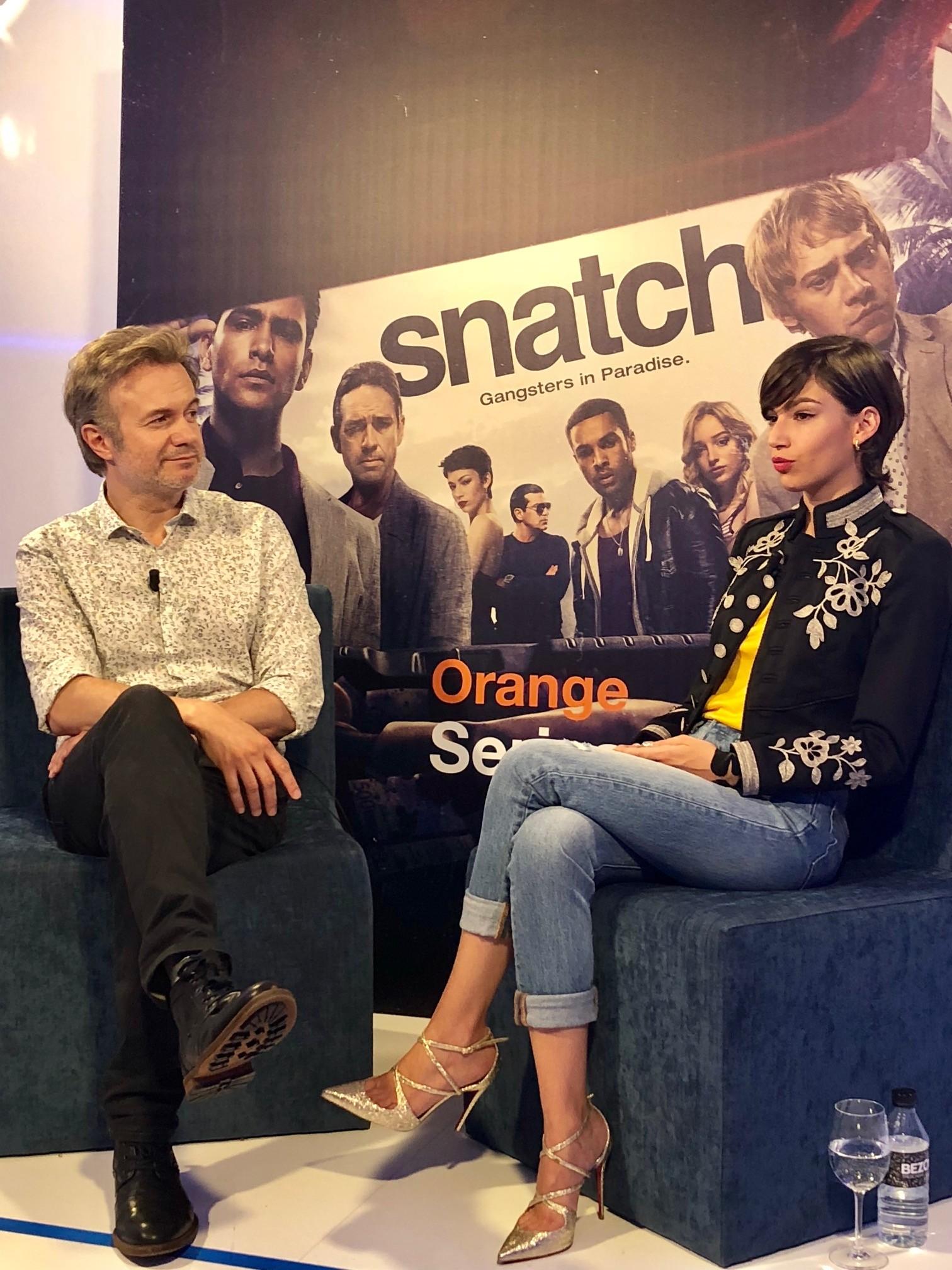 Úrsula Corberó y Tristán Ulloa en la presentación de la segunda temporada de Snatch, que se emitirá en Orange TV