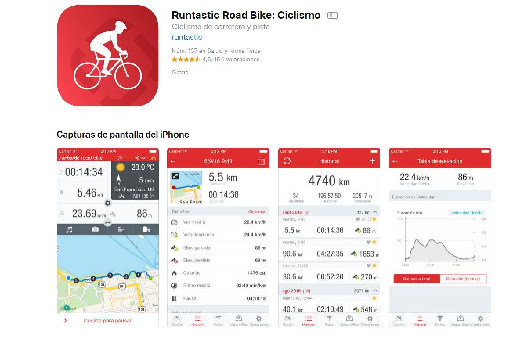 aplicaciones para montar en bici: runtastic road bike