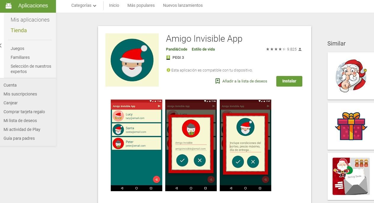 App para jugar al amigo invisible en Navidad