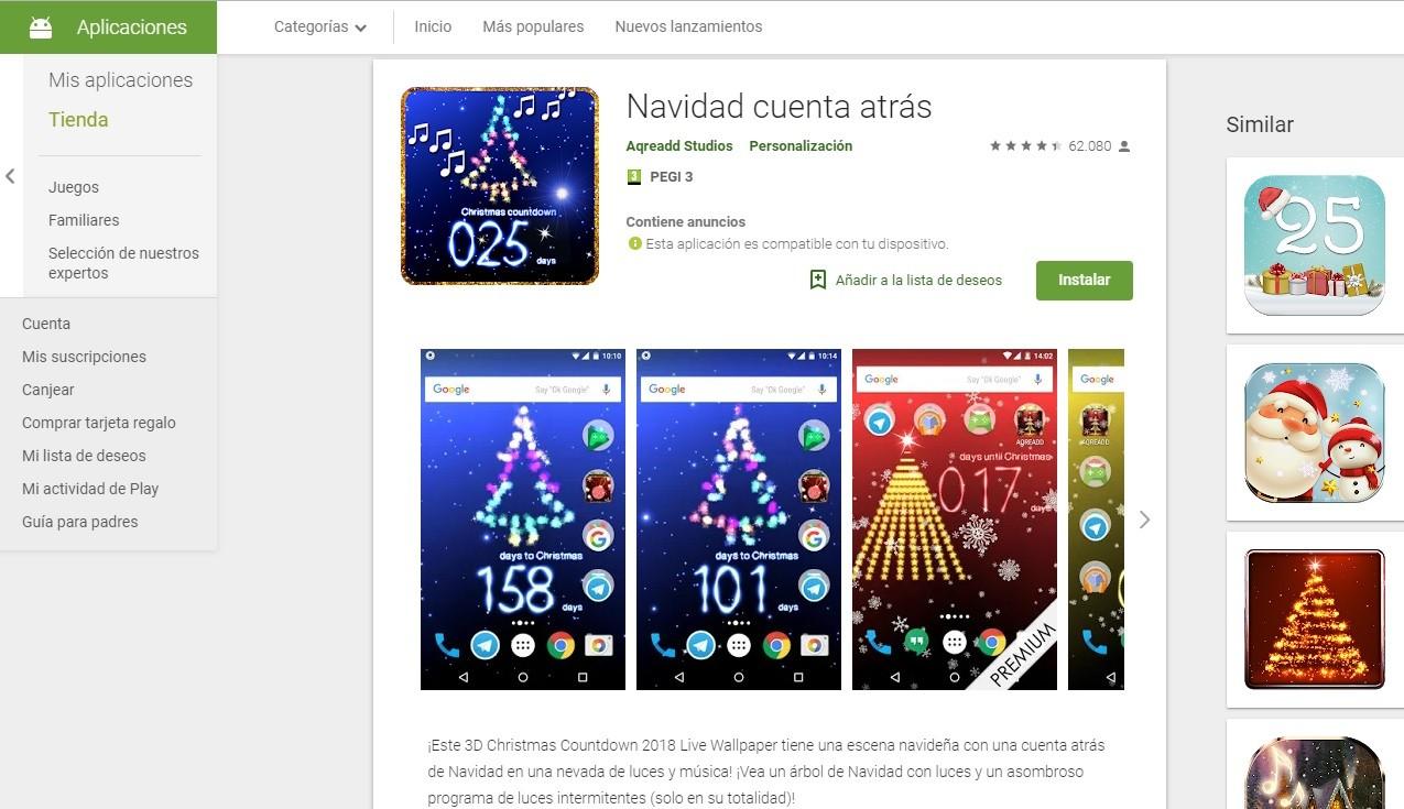 App con una cuenta atrás para Navidad