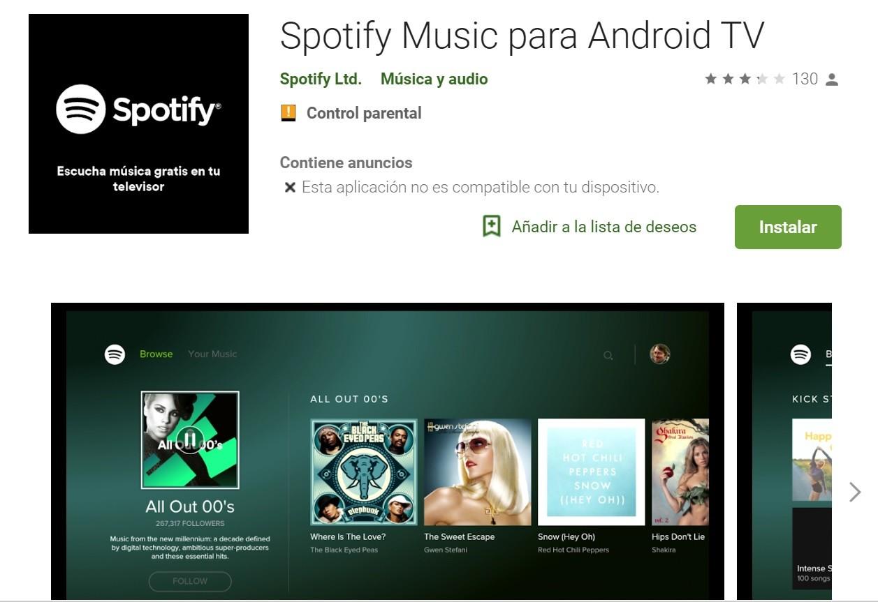 Escuchar música en Android TV
