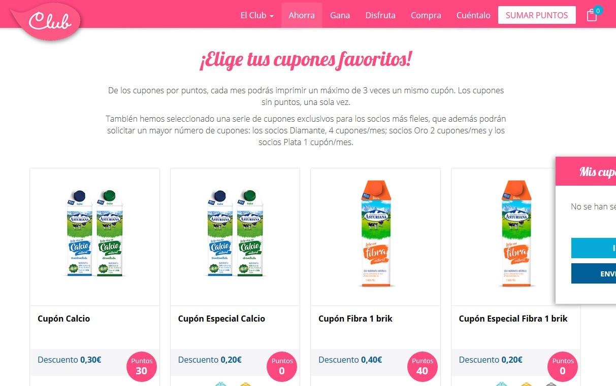 Webs de cupones de descuento como la de Central Lechera Asturiana