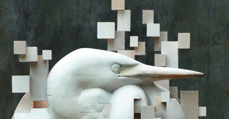 Efecto pixelado en esculturas