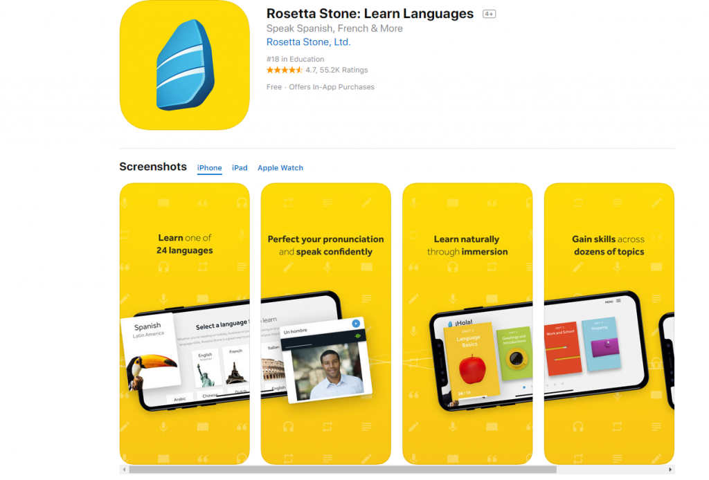 Rosseta Stone: apps para aprender idiomas