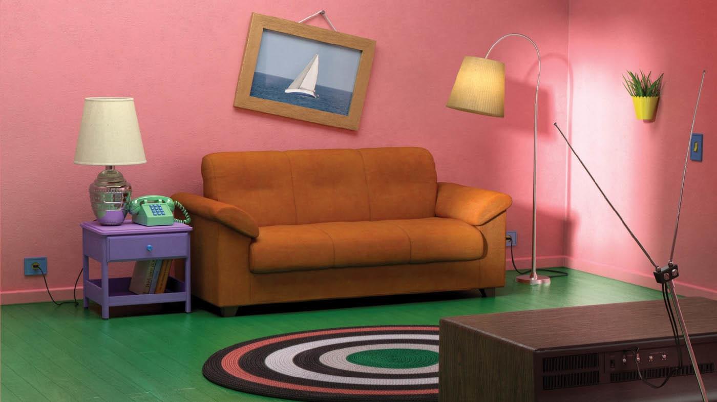 Recreación del salón de los Simpson