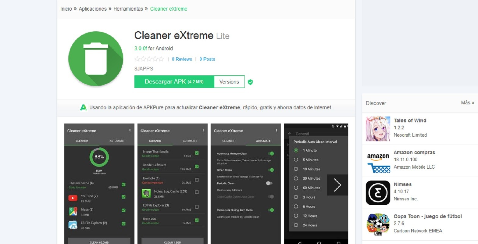 Cleaner extreme es un famoso limpiador Android