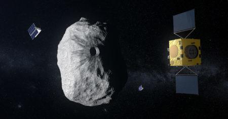 Representación del asteroide y el proyecto HERA