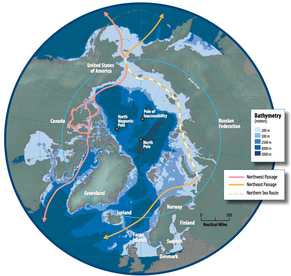 Nuevas rutas marítimas en el océano Ártico.