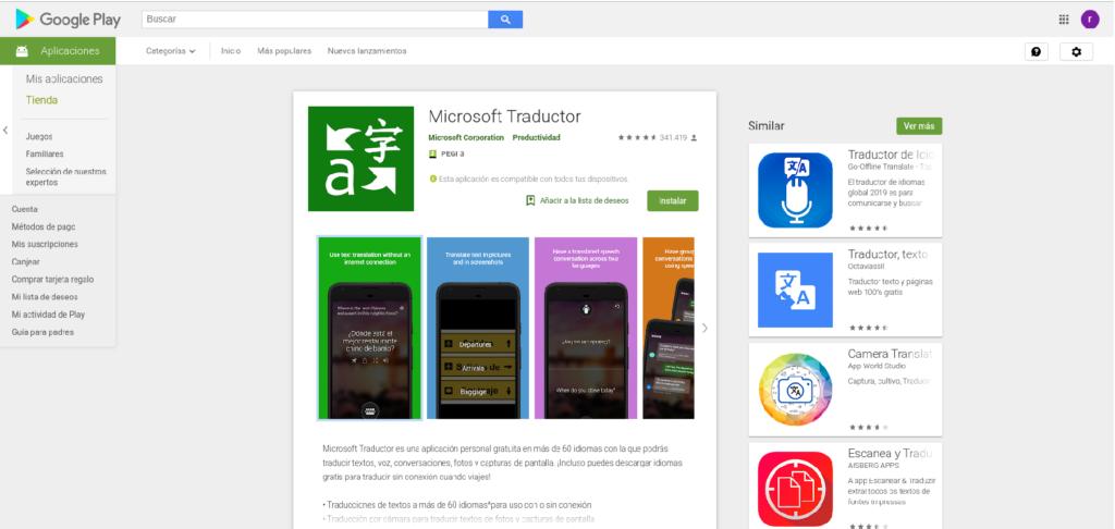 Microsoft traductor para móvil