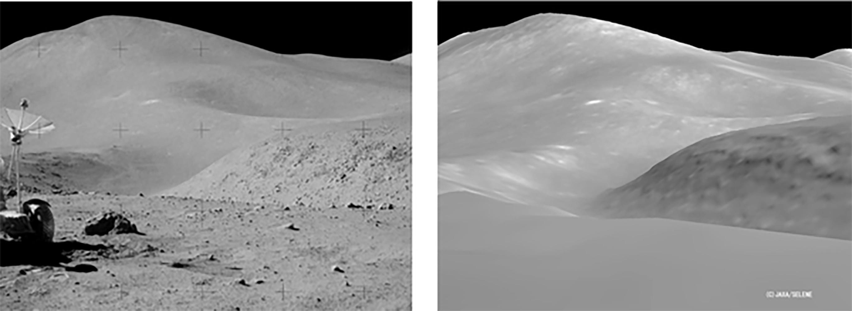 A la izquierda, foto del Mar de la Tranquilidad tomada por los astronautas; a la derecha, foto del mismo paisaje tomada por la sonda japonesa Selene. Alunizaje