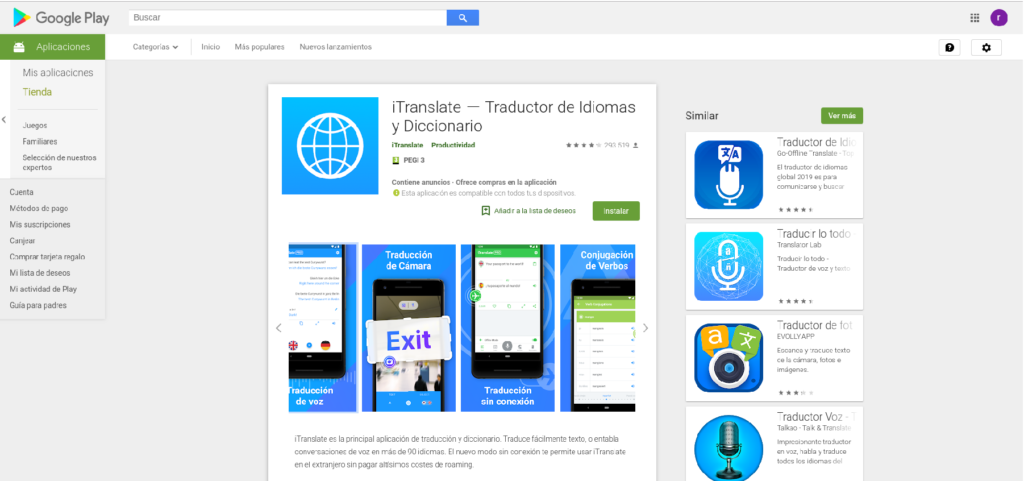 iTranslate, traductor de idiomas