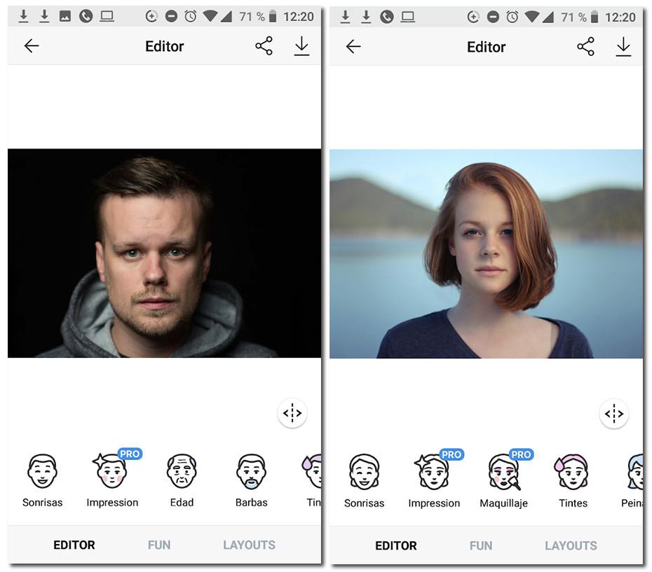 faceapp capturas de pantalla