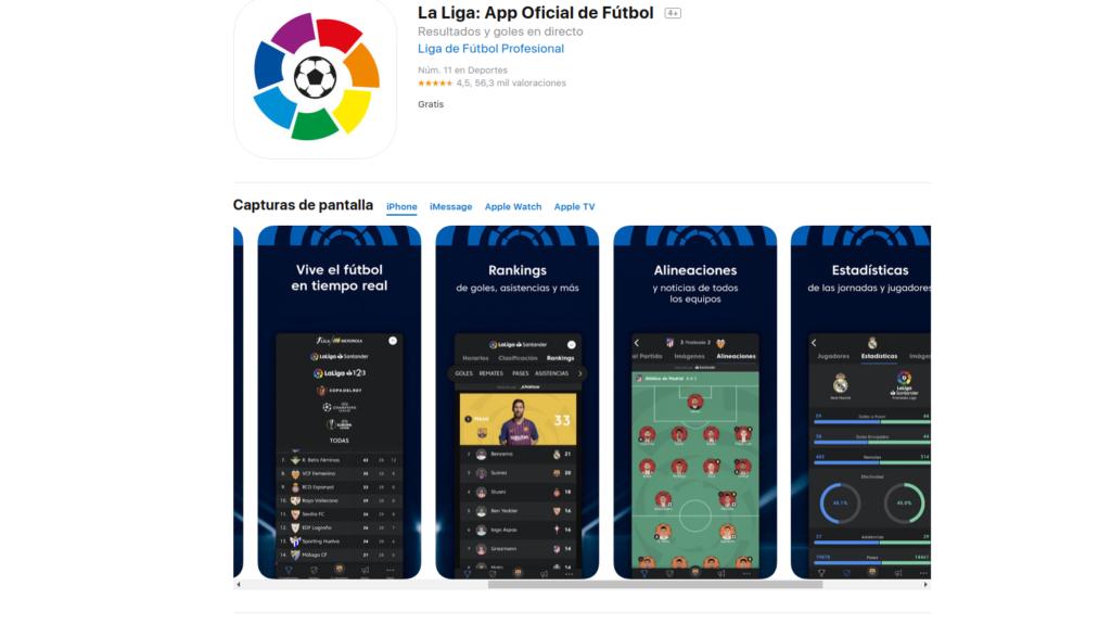 La Liga, aplicación para seguir la liga de fútbol española