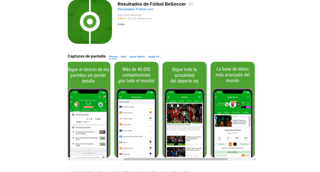 Resultados de Fútbol, aplicaciones para seguir la liga de fútbol
