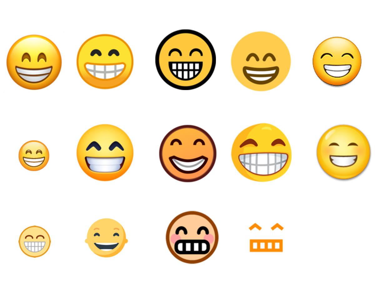 diferentes formas de representar el mismo emoji