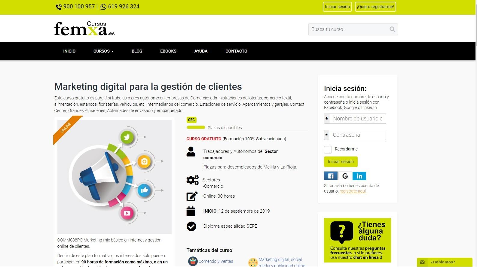 Femxa es una plataforma que ofrece curos online gratuitos para desempleados
