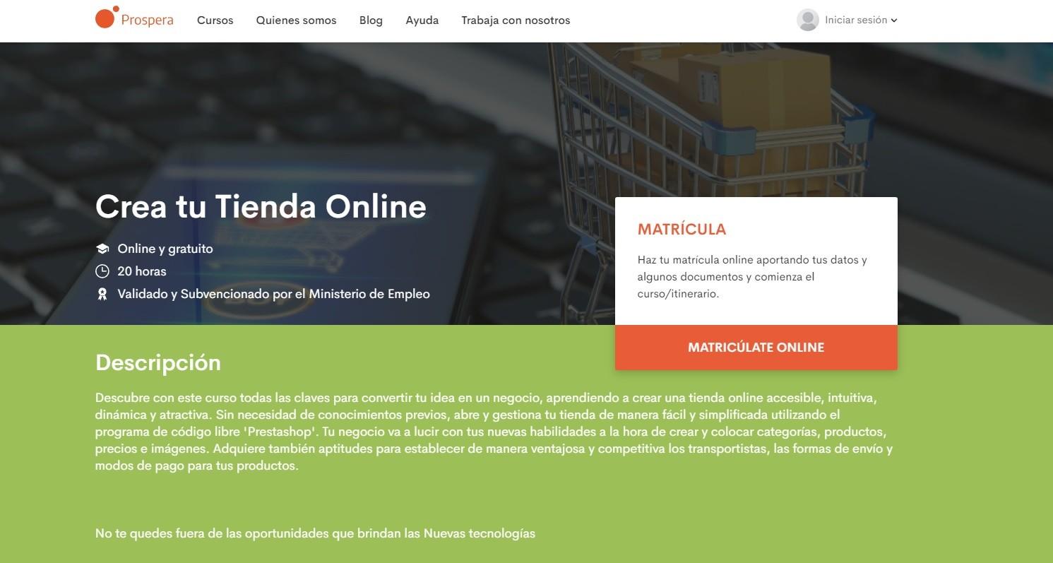 Prospera ofrece cursos online gratuitos para desempleados