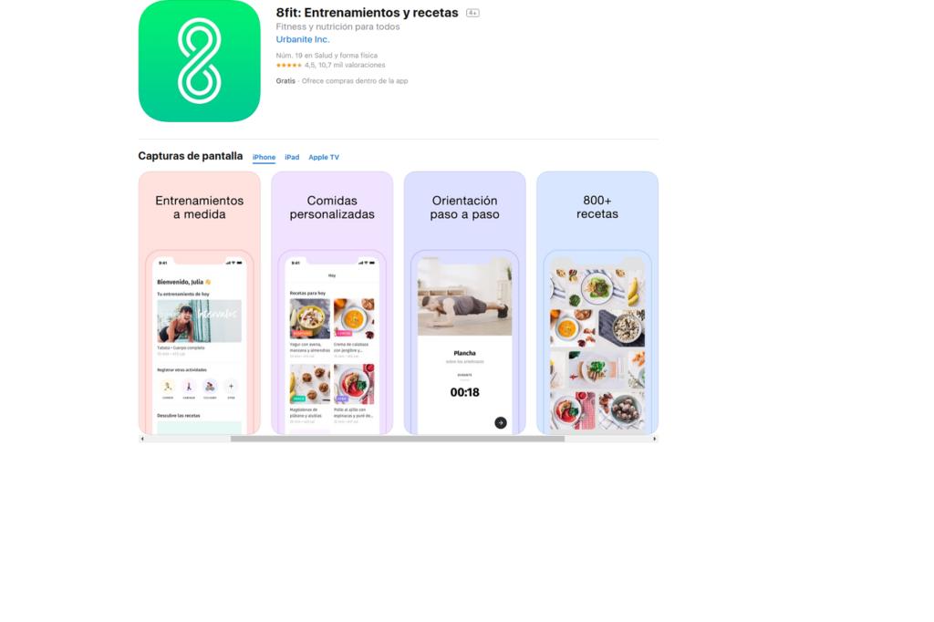 8FIT: FITNESS Y NUTRICIÓN: aplicaciones para mantenerse en forma