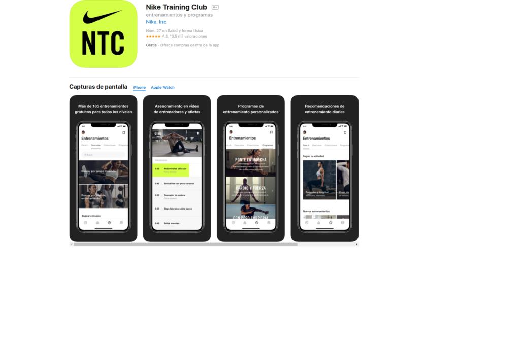 NIKE TRAINING CLUB: aplicaciones para mantenerse en forma