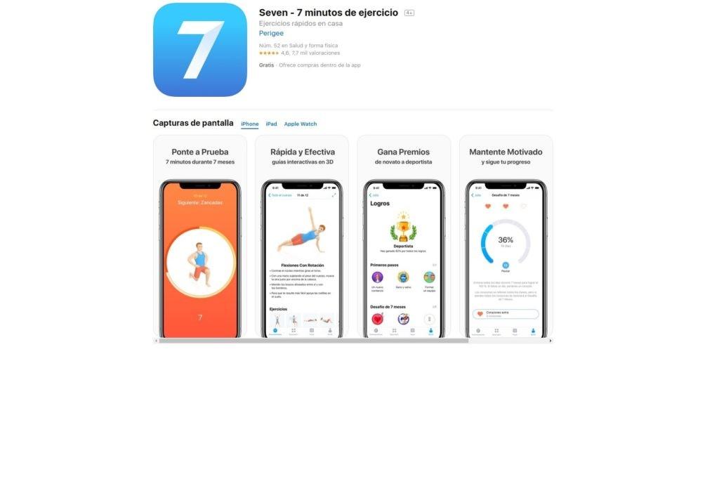 aplicaciones para ponerse en forma: seven