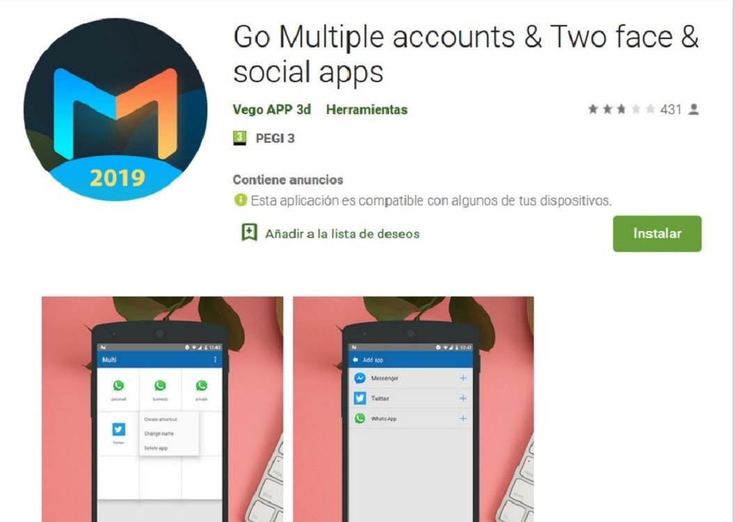 Con Go Multiple podemos tener WhatsApp doble