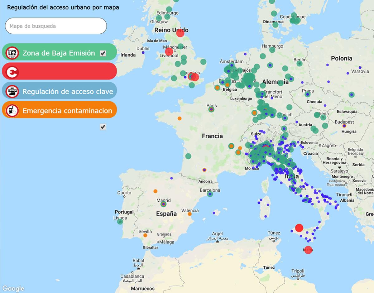 mapa ciudades trafico restringido zona lez electrica
