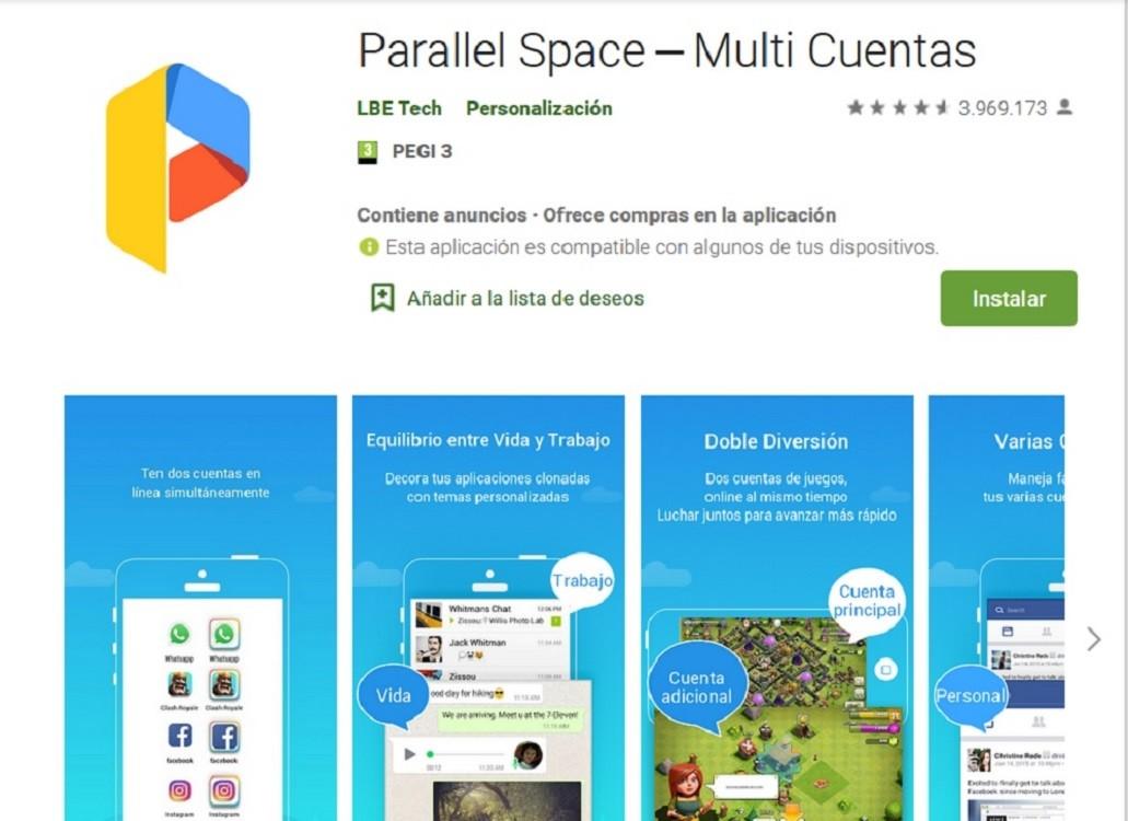 Con Parallel Space podemos tener WhatsApp doble