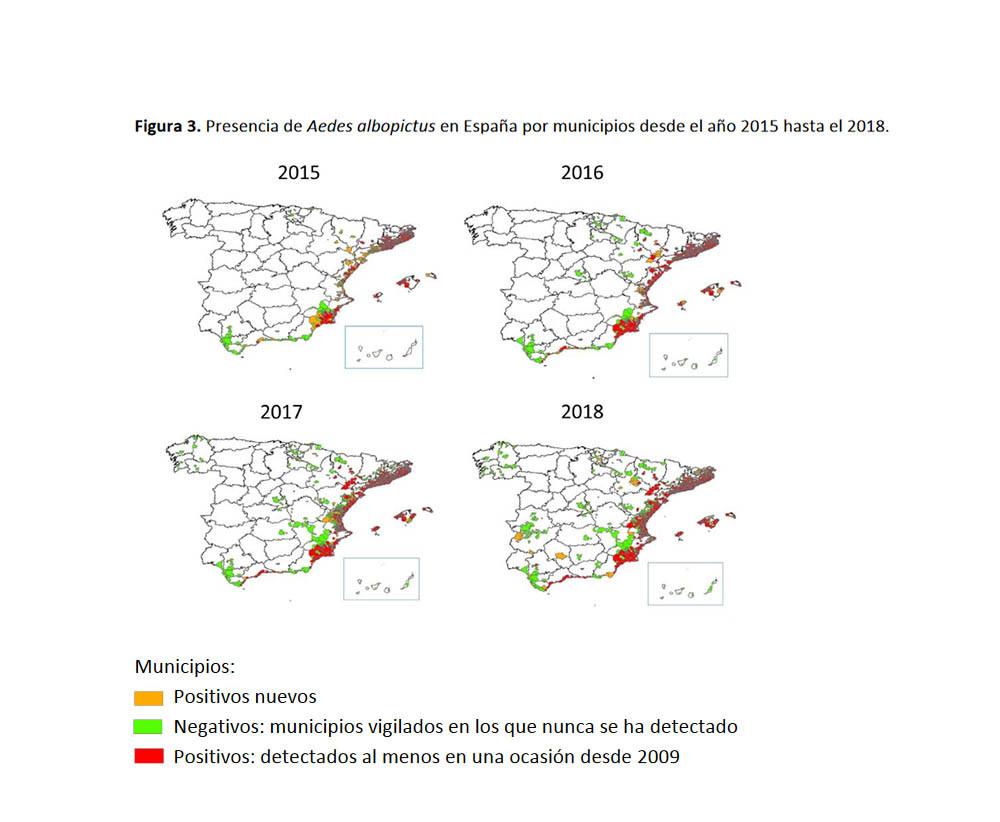 mapa de distribución del mosquito tigre en España