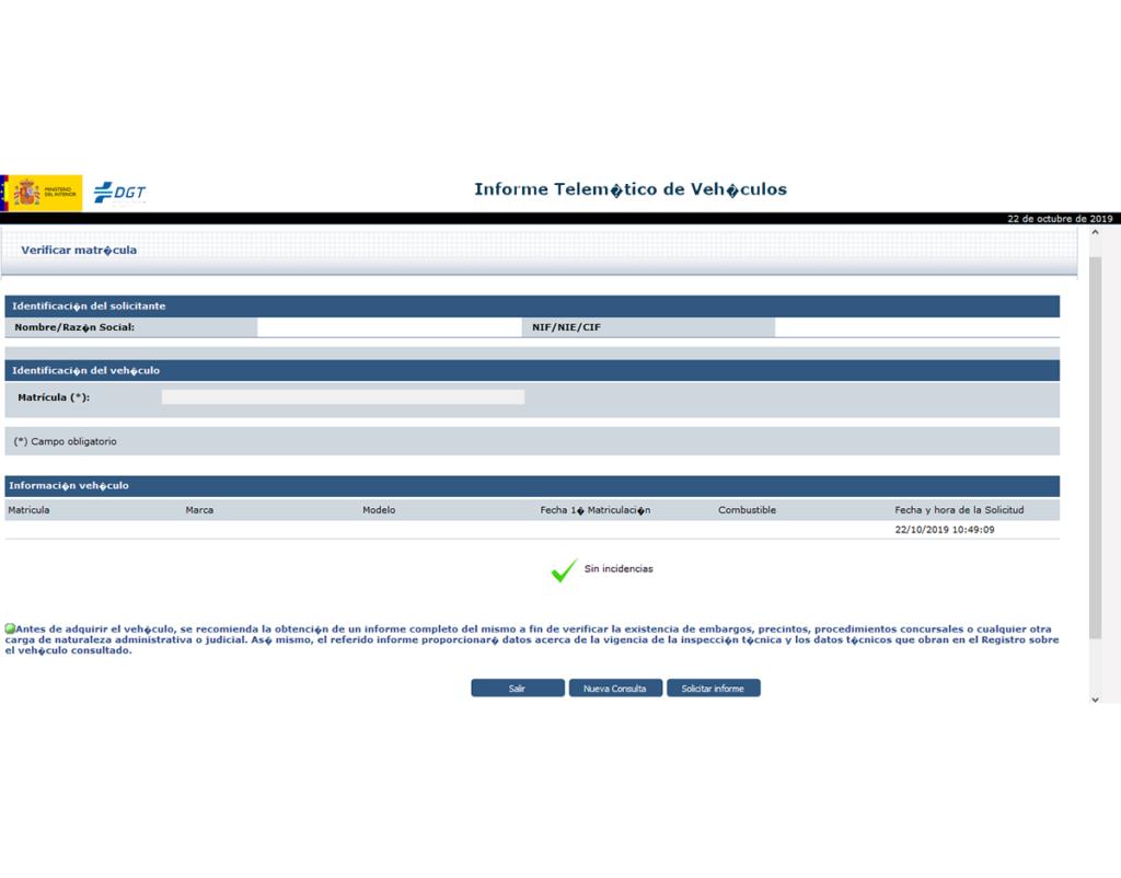 informe sencillo de verificación de vehículo de la DGT