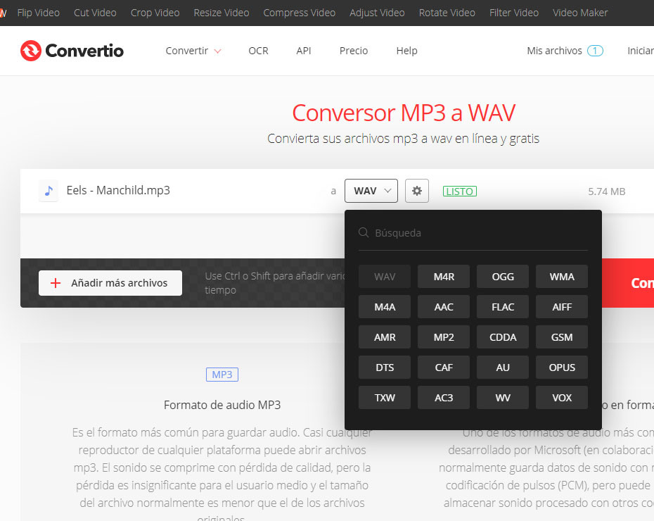 convertidor de archivos chrome audio formato