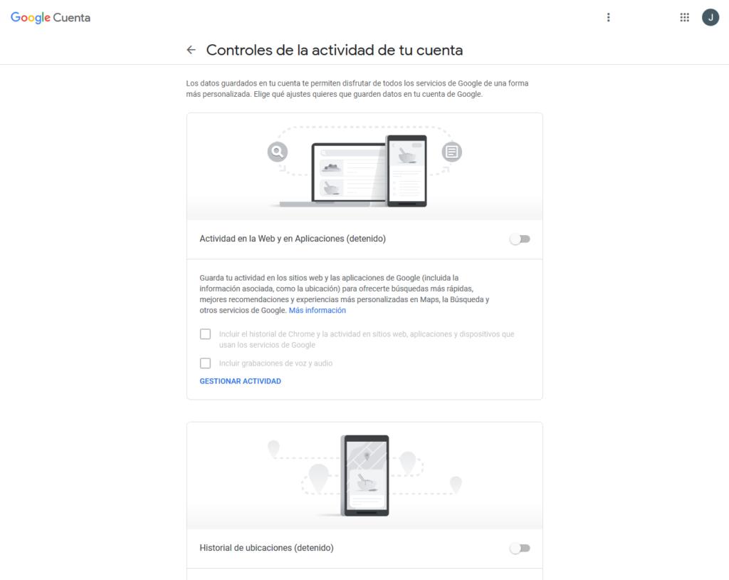 control de actividad de Google