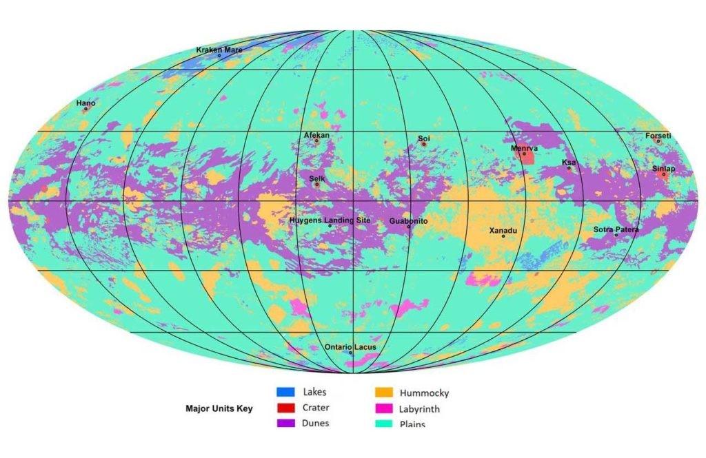mapa de Titán, así es su superficie