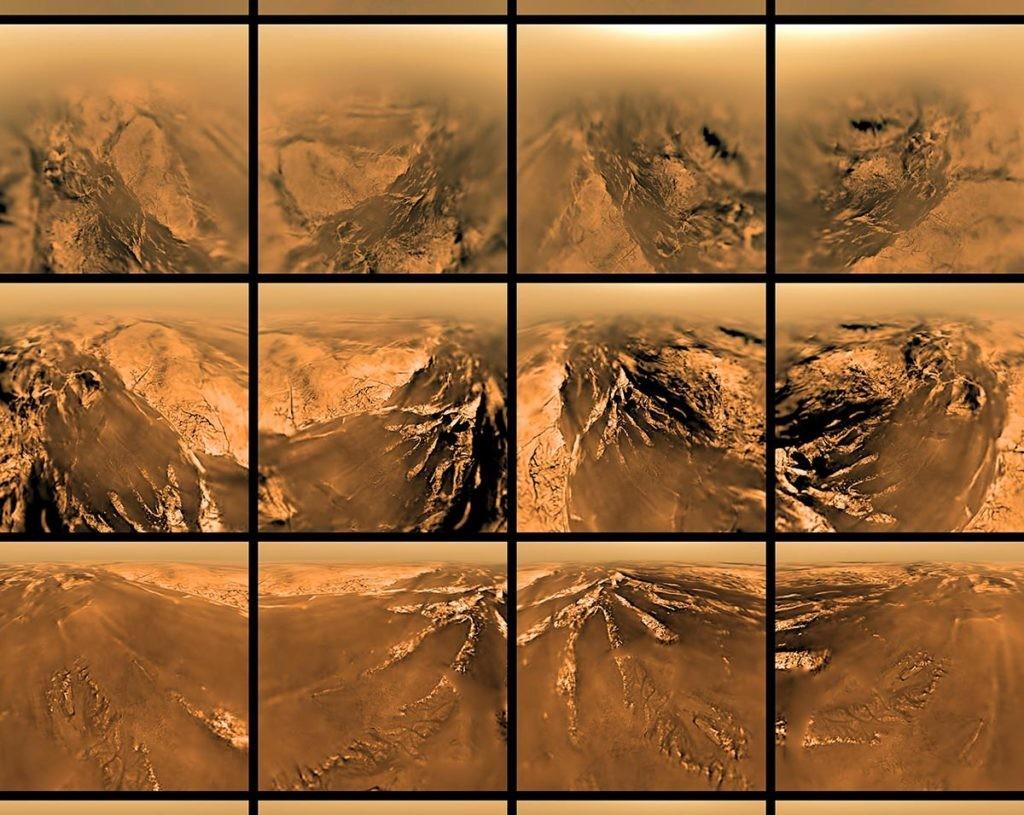 mapa de Titán e imágenes de su superficie