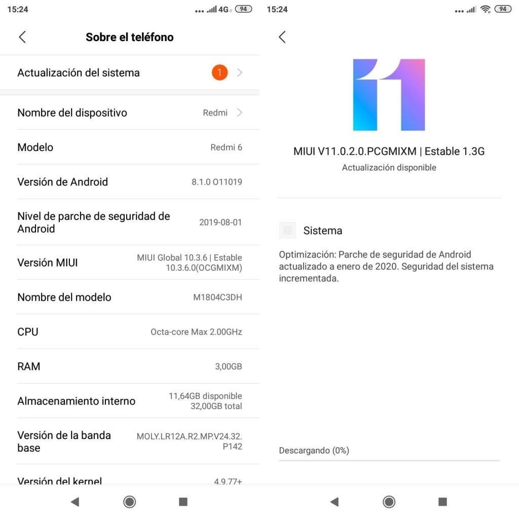 pantallas de sistema para actualizar Android