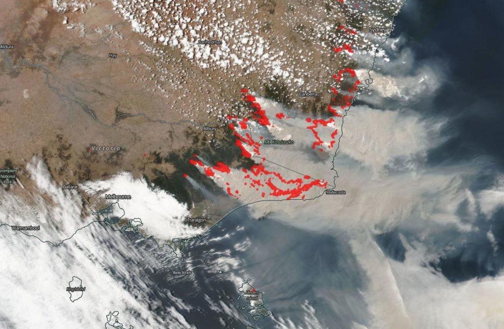 humo de los incendios de Australia según la NASA