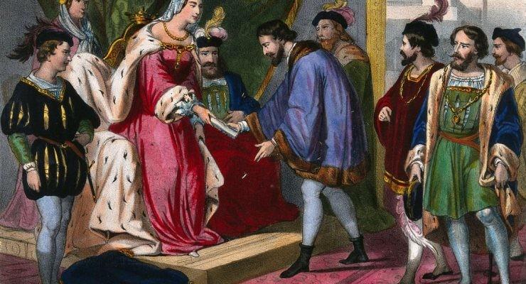 La reina Isabel I de Castilla entrega a Cristóbal Colón su nombramiento como virrey de los territorios que descubr, Cassé frères à St Gaudens, Wellcome Collection
