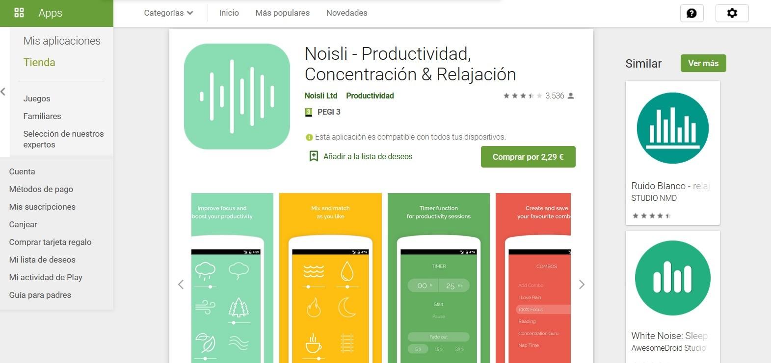 Noisli, una aplicación de ruido de color