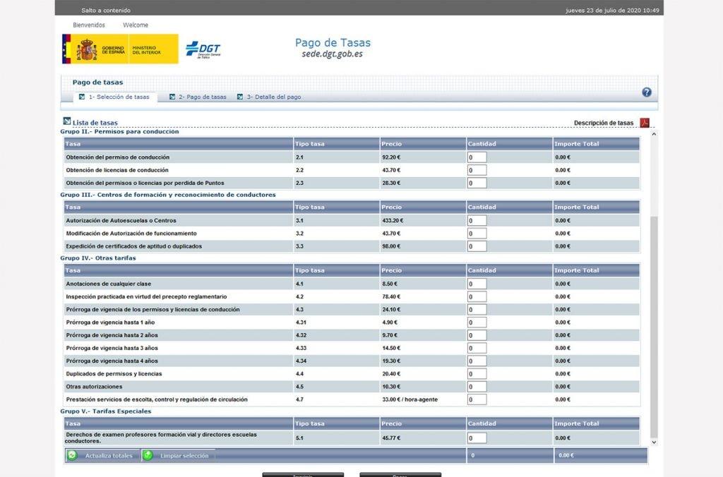 página de pago de tasas de la DGT
