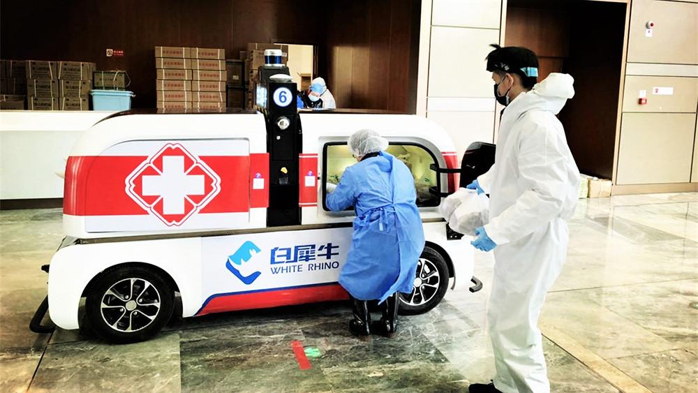 white rhino transporte de medicidas urbanas ciudades chinas robots