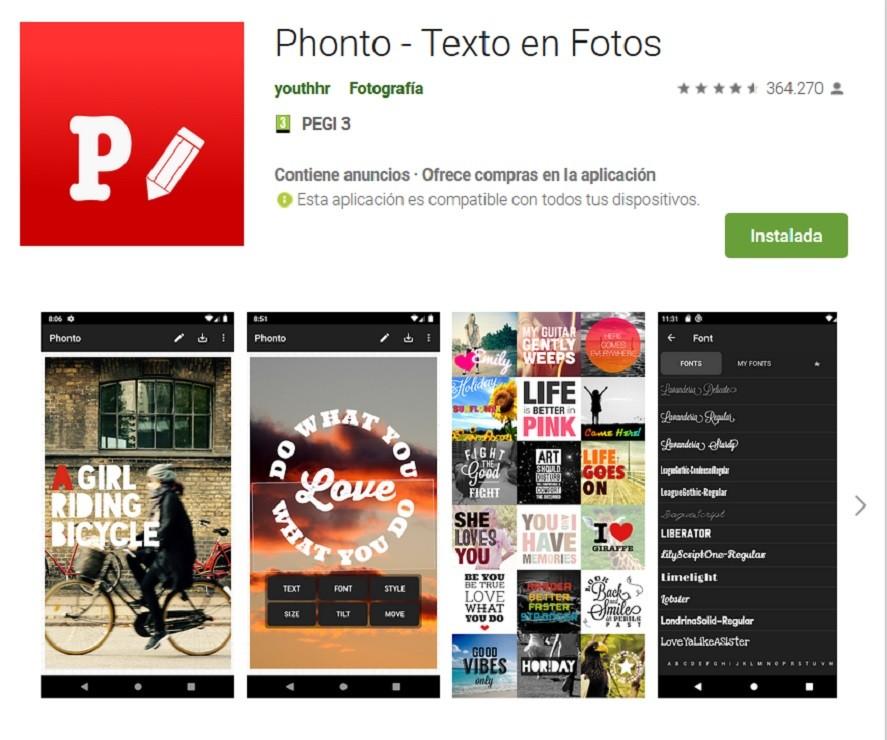 Phonto, una aplicación para escribir en fotos
